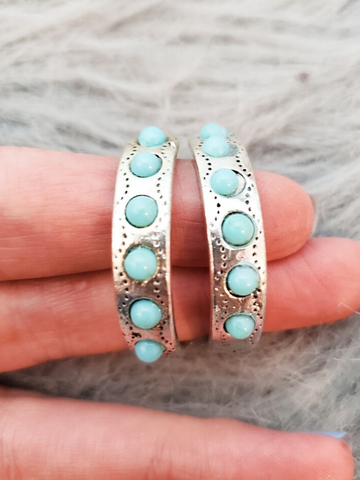 southwest style turquoise hoop earrings women's accessories jewelry boerne pixie boutique shop online or in store san antonio texas hill country
