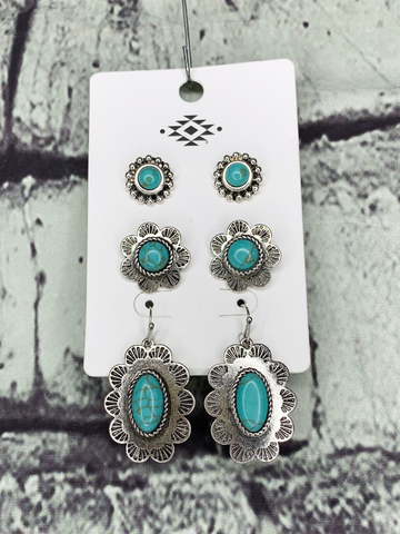 silver turquoise flower earring set jewelry | shop women's clothing clothes apparel accessories and gifts online or in store at boerne pixie boutique | a favorite of locals and san antonio visitors too