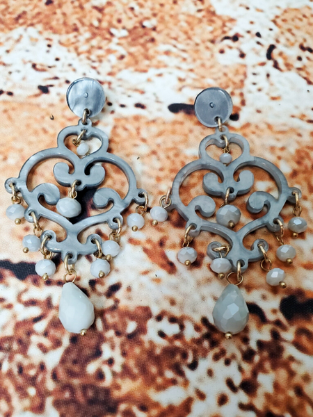 gray fancy flourish earrings shop women's jewelry accessories online or in store at boerne pixie boutique san antonio texas hill country