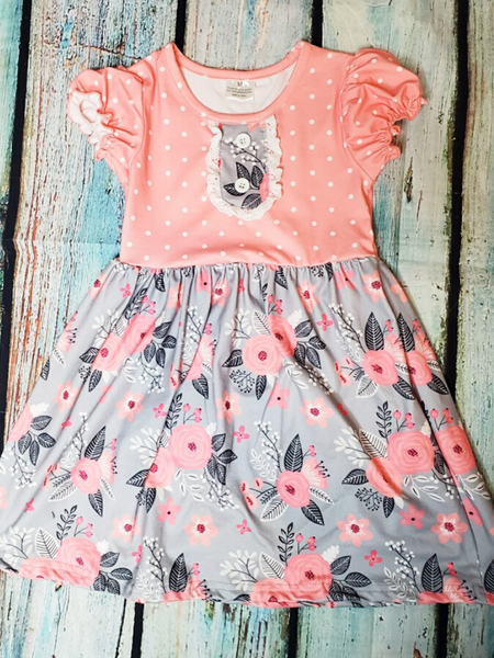 girls floral dress pink and gray with ruffles summer outfit | shop girls clothing clothes apparel online or in store boerne pixie boutique | a favorite of locals and san antonio visitors too