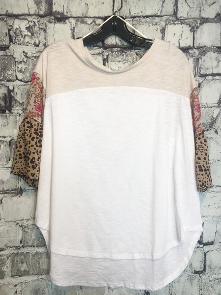 Ivory leopard print and floral bell sleeve boho bohemian top shirt blouse | women's clothing and apparel clothes | boerne pixie boutique | shop online or in store
