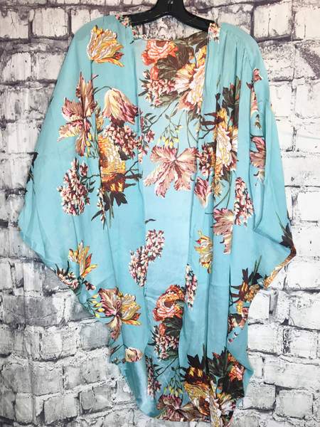 blue floral kimono top shirt blouse coverup | shop women's clothing clothes apparel accessories jewelry and gifts online or in store at boerne pixie boutique | a favorite of locals and san antonio visitors too | top best boerne boutiques Edit alt text