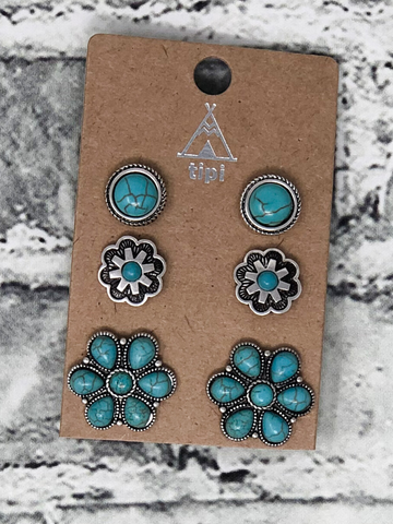 turquoise flowers earring trio women's jewelry accessories boerne pixie boutique shop online or in store