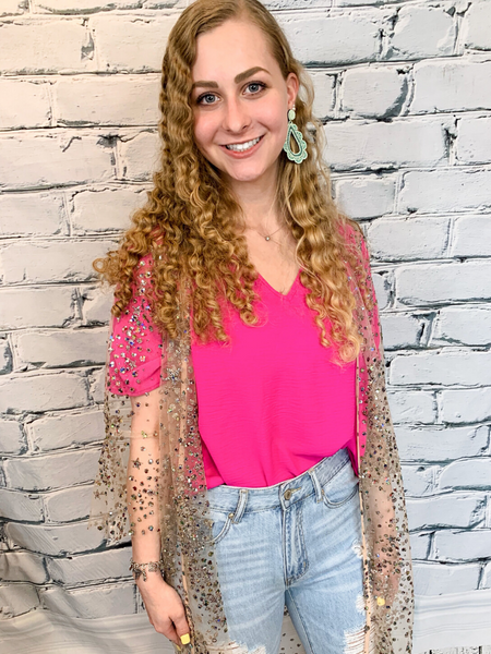 hot pink flowy top women's clothing apparel clothes pixie boerne boutique shop online or in store