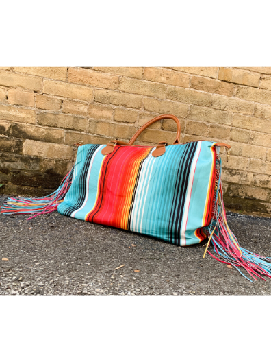 serape multi-colored fringed weekender bag tote handbag purse diaper bag | shop women's clothing clothes apparel online or in store at boerne pixie boutique | a favorite of locals and san antonio visitors too