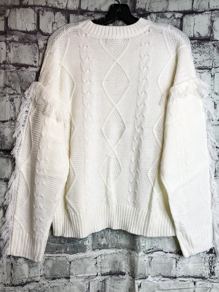 white cream fringe sweater top shirt blouse | fall and winter fashion | shop women's clothing clothes apparel accessories jewelry and gifts online or in store at boerne pixie boutique | a favorite of locals and san antonio visitors too