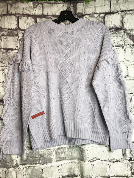 gray fringe sweater top shirt blouse | fall and winter fashion | shop women's clothing clothes apparel accessories jewelry and gifts online or in store at boerne pixie boutique | a favorite of locals and san antonio visitors too