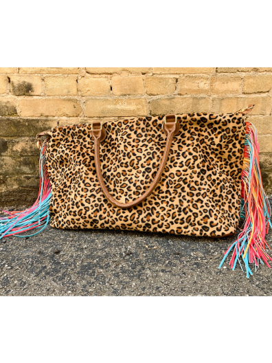 leopard print serape multi-colored fringe weekender bag handbag tote diaper bag | shop women's clothing clothes apparel online or in store at boerne pixie boutique | a favorite of locals and san antonio visitors too Edit alt text