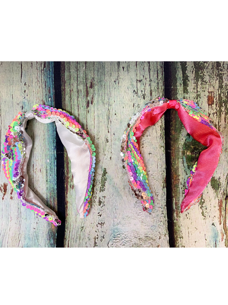 rainbow reversible sequin headband for girls youth pink white satin pixie boutique boerne shop online or in store