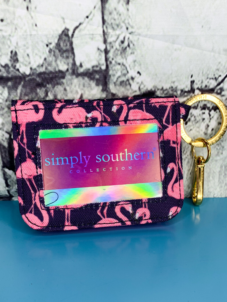 flamingo print simply southern id wallet purse handbag clutch | shop women's clothing clothes apparel accessories and gifts online or in store at boerne pixie boutique | a favorite of locals and san antonio visitors too