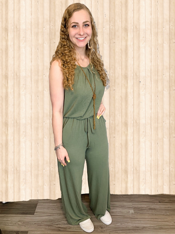 sleeveless jumpsuit green women's clothing summer spring pixie boutique boerne shop online or in store
