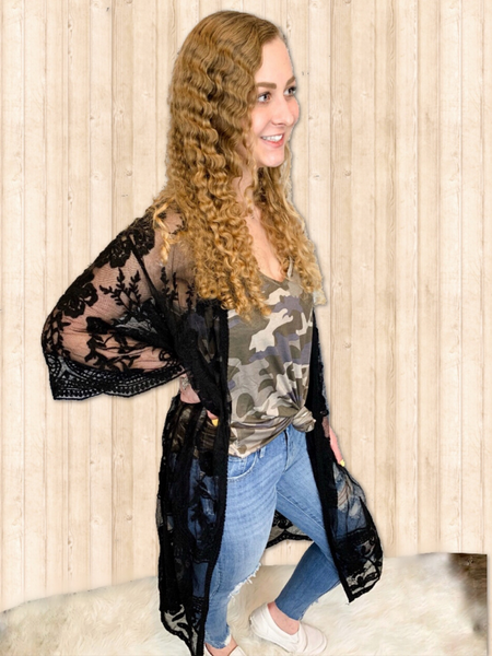 black lace cardigan duster women's clothing apparel boerne pixie boutique shop online or in store