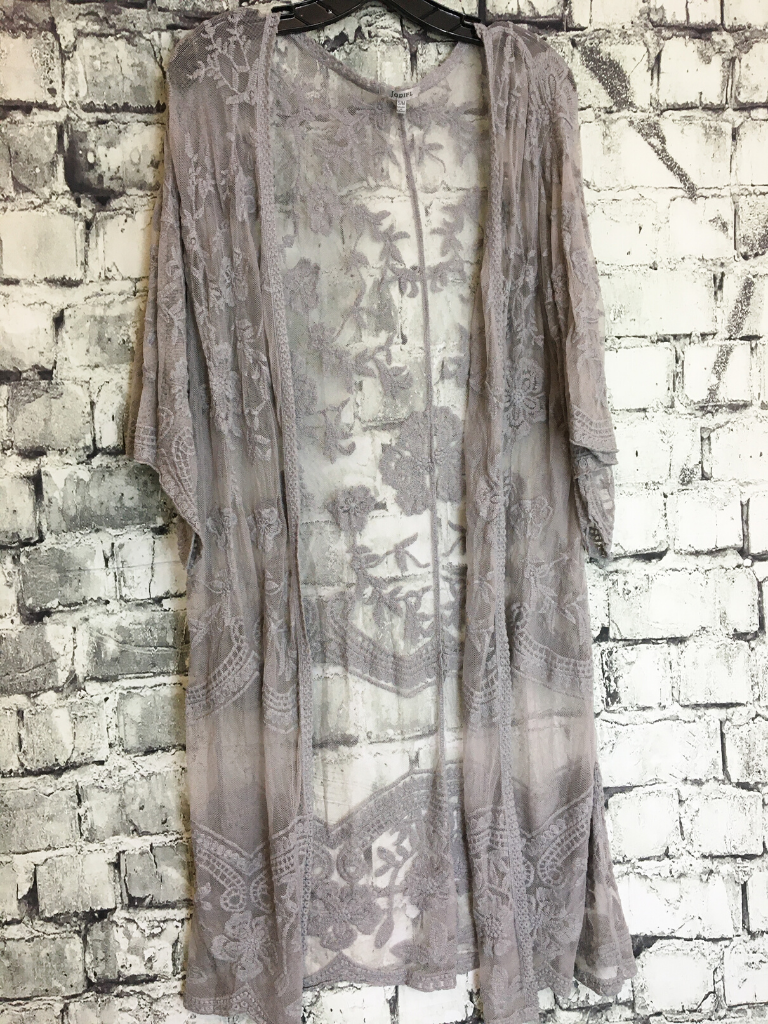 gray lace cardigan duster women's clothing apparel boerne pixie boutique shop online or in store