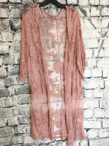 peach pink blush mauve lace cardigan duster women's clothing apparel boerne pixie boutique shop online or in store