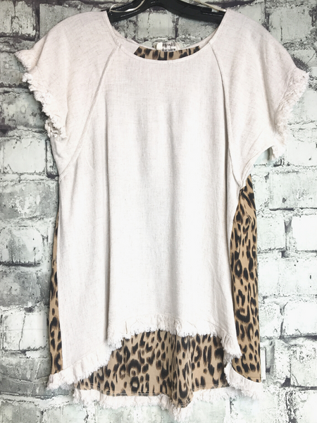 plus size white leopard print back linen top shirt blouse tunic | shop women's clothing clothes apparel accessories and gifts online or in store at boerne pixie boutique | a favorite of locals and san antonio visitors too Edit alt text