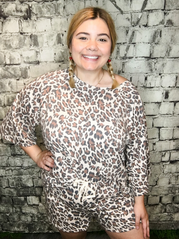 leopard print lounge set pajamas shorts and top shirt blouse | shop women's clothing clothes apparel online or in store at boerne pixie boutique | a favorite of locals and san antonio visitors too