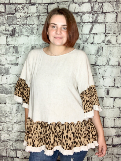 leopard print ruffle hem linen contrast top shirt blouse | shop women's clothing clothes apparel online or in store at boerne pixie boutique | a favorite of locals and san antonio visitors too