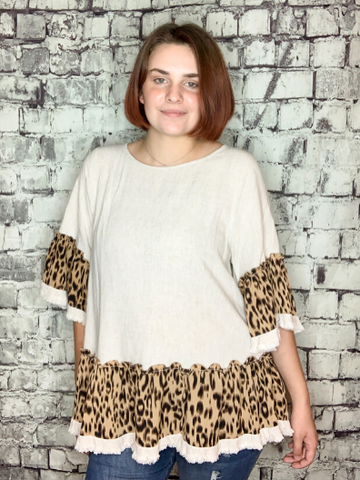 leopard print hem linen top shirt blouse | shop women's clothing clothes apparel online or in store at boerne pixie boutique | a favorite of locals and san antonio visitors too