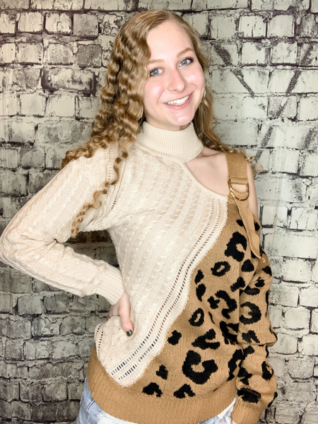 plus size ivory brown tan leopard print sweater top shirt blouse with open shoulder and buckle detail | fall and winter fashion | shop women's clothing clothes apparel accessories jewelry and gifts online or in store at boerne pixie boutique | a favorite of locals and san antonio visitors too | top best boerne boutiques