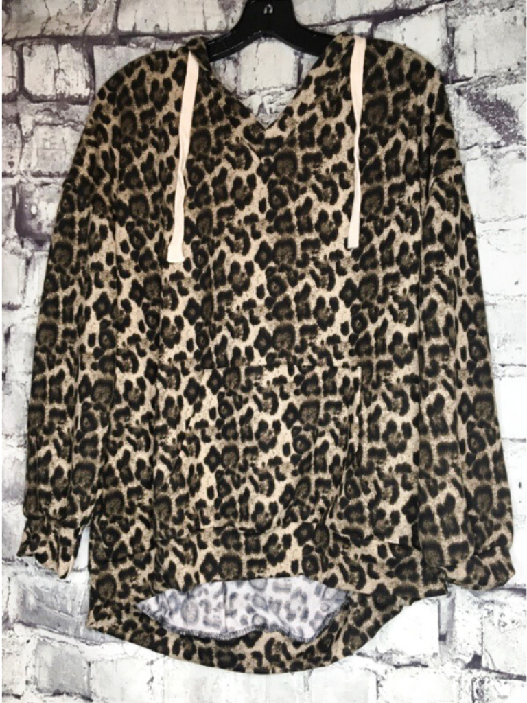 leopard print hoodie adjustable straps lightweight for fall summer top shirt blouse sweater | shop women's clothing clothes apparel accessories and gifts online or in store at boerne pixie boutique | a favorite of locals and san antonio visitors too