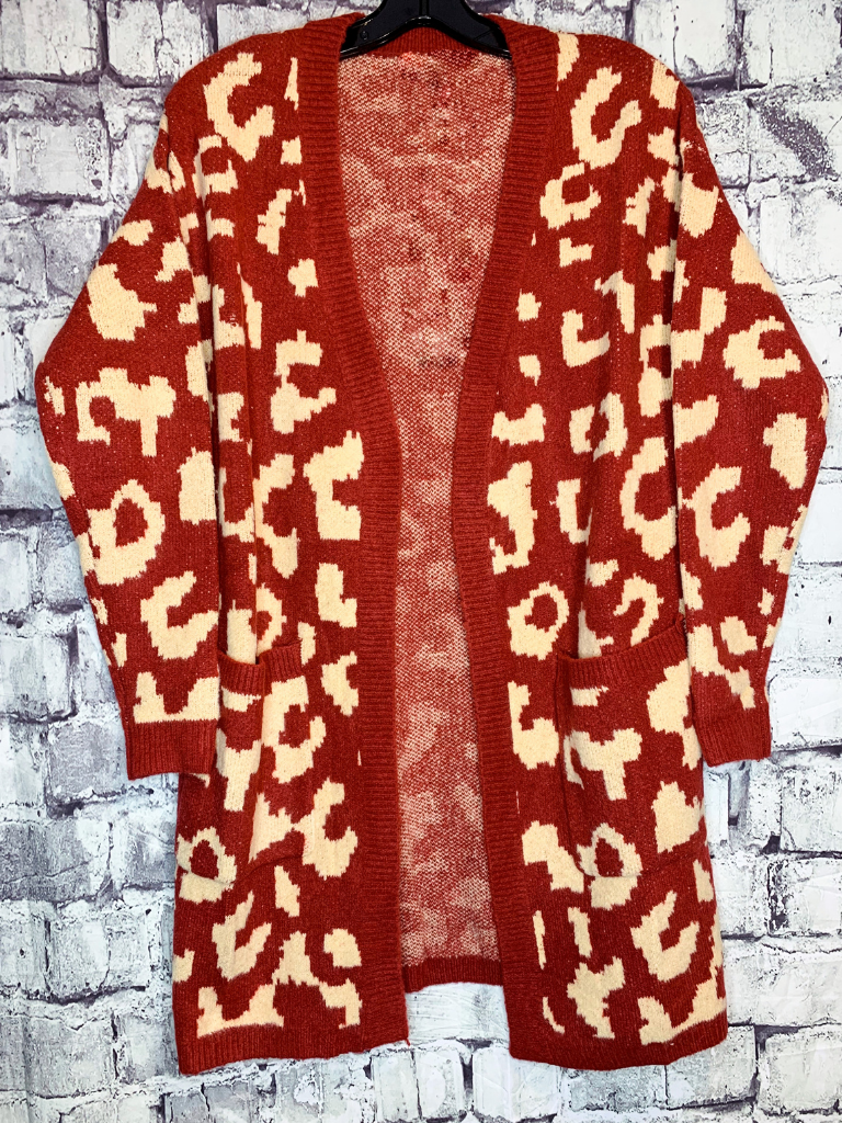 red and tan gold leopard print cardigan sweater shirt top blouse | fall and winter fashion | shop women's clothing clothes apparel accessories jewelry and gifts online or in store at boerne pixie boutique | a favorite of locals and san antonio visitors too