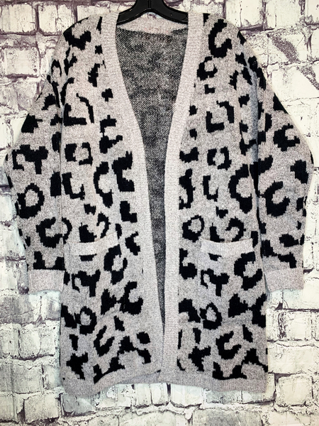 gray and black leopard print cardigan sweater shirt top blouse | fall and winter fashion | shop women's clothing clothes apparel accessories jewelry and gifts online or in store at boerne pixie boutique | a favorite of locals and san antonio visitors too