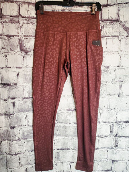 burgundy red rust burnt orange leopard print leggings tights yoga pants | shop women's clothing clothes apparel accessories jewelry and gifts online or in store at boerne pixie boutique | a favorite of locals and san antonio visitors too