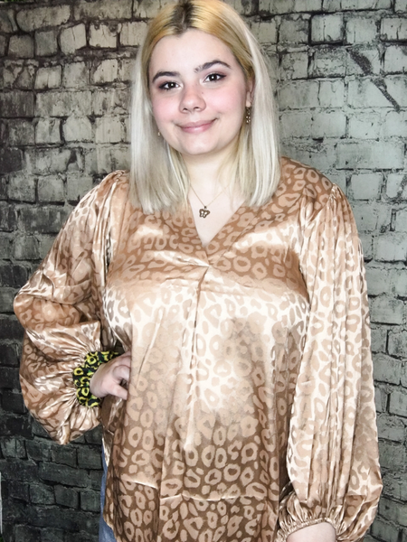 taupe champagne gold rose gold leopard print satin top shirt blouse | fall and winter fashion | shop women's clothing clothes apparel accessories jewelry and gifts online or in store at boerne pixie boutique | a favorite of locals and san antonio visitors too | top best boerne boutiques