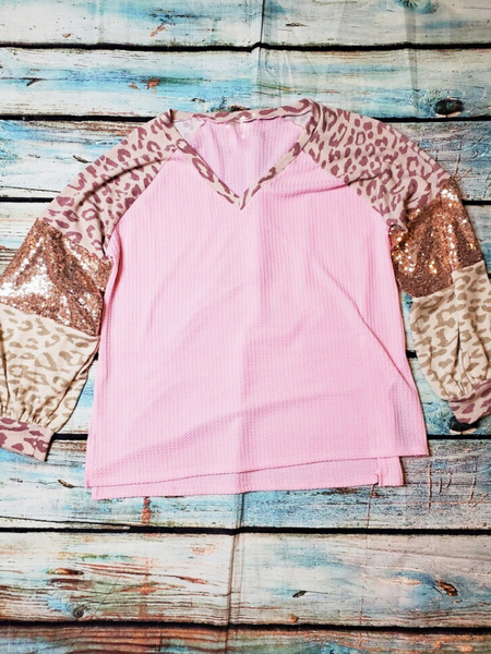 leopard print sequin top blush pink cream rose gold shirt sweater blouse | fall and winter fashion | shop women's clothing clothes apparel accessories jewelry and gifts online or in store at boerne pixie boutique | a favorite of locals and san antonio visitors too