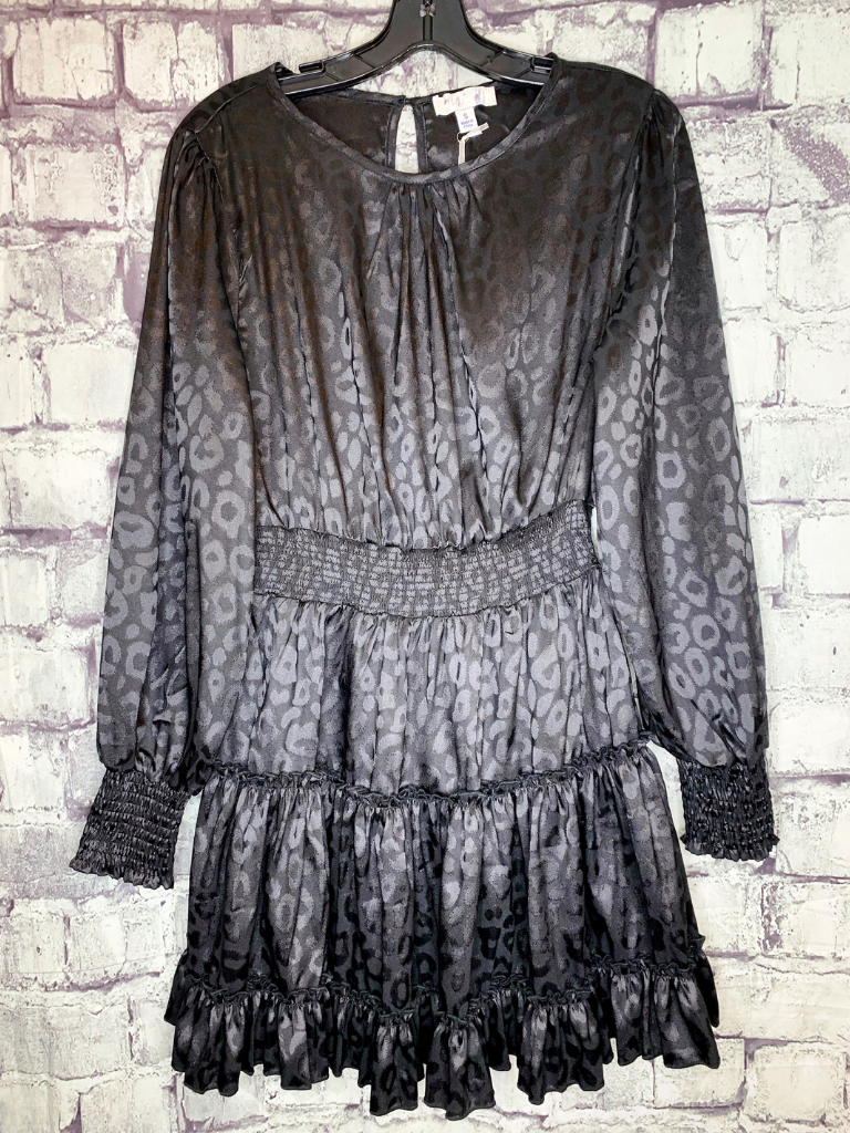 black leopard print smocked dress with ruffles | women's fashion | shop women's clothing clothes apparel accessories jewelry and gifts online or in store at boerne pixie boutique | a favorite of locals and san antonio visitors too | top best boerne boutiques