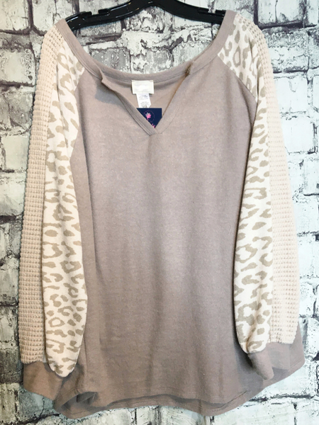 ivory tan leopard print top with waffle sleeves shirt blouse sweater | fall and winter fashion | shop women's clothing clothes apparel accessories jewelry and gifts online or in store at boerne pixie boutique | a favorite of locals and san antonio visitors too