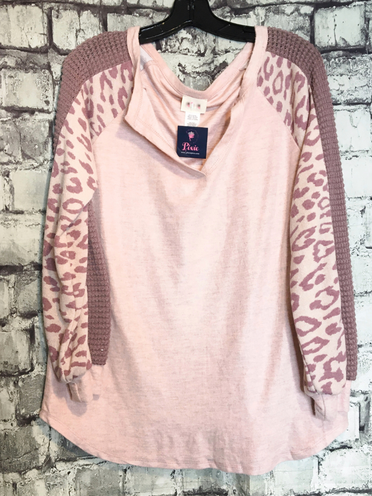 blush pink mauve leopard print top with waffle sleeves shirt blouse sweater | fall and winter fashion | shop women's clothing clothes apparel accessories jewelry and gifts online or in store at boerne pixie boutique | a favorite of locals and san antonio visitors too