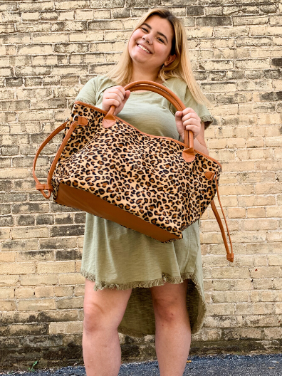 leopard print tote bag purse handbag diaper bag weekender | shop women's clothing clothes apparel online or in store at boerne pixie boutique | a favorite of locals and san antonio visitors too