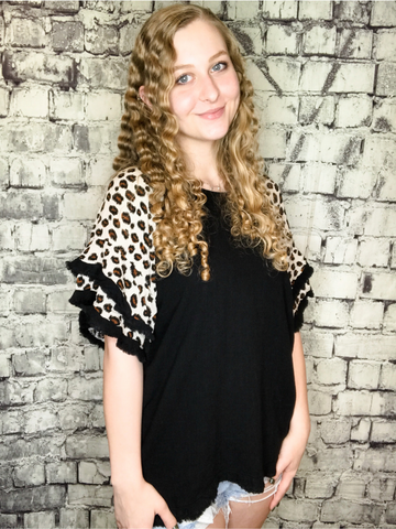 plus size black and cream white leopard print top shirt blouse with ruffle sleeves | fall and winter fashion | shop women's clothing clothes apparel accessories jewelry and gifts online or in store at boerne pixie boutique | a favorite of locals and san antonio visitors too | top best boerne boutiques