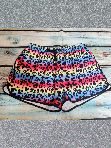rainbow multi-colored leopard print shorts bottoms pajamas lounge wear | shop women's clothing clothes apparel accessories and gifts online or in store at boerne pixie boutique | a favorite of locals and san antonio visitors too