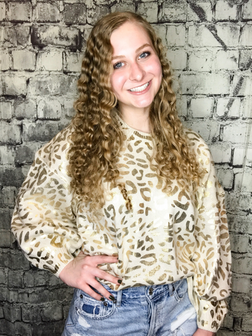 cream off white ivory and gold leopard print loose fit sweater top shirt blouse | fall and winter fashion | shop women's clothing clothes apparel accessories jewelry and gifts online or in store at boerne pixie boutique | a favorite of locals and san antonio visitors too | top best boerne boutiques