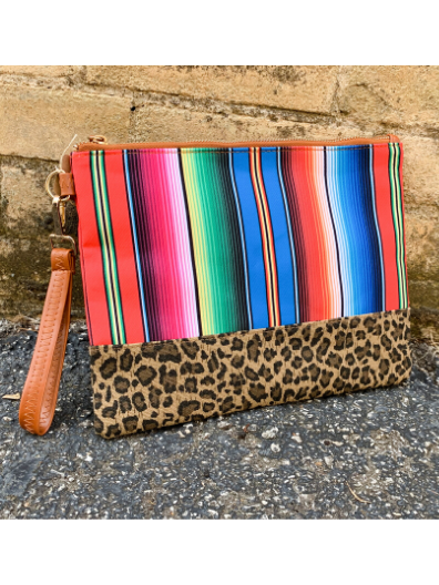 leopard print multicolored serape clutch handbag purse | shop women's clothing clothes apparel online or in store at boerne pixie boutique | a favorite of locals and san antonio visitors too