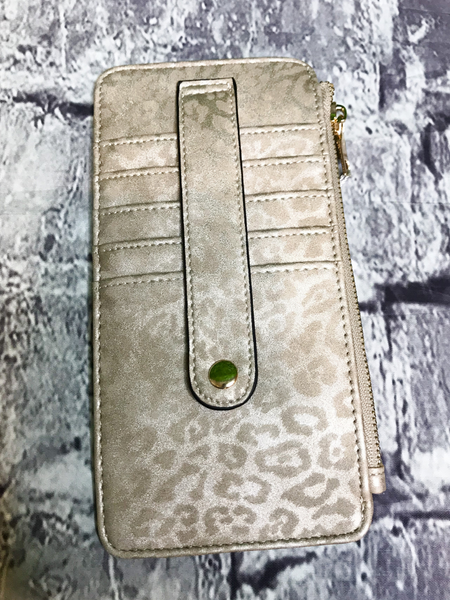 light gold cheetah print credit card wallet | shop women's clothing clothes apparel accessories jewelry and gifts online or in store at boerne pixie boutique | a favorite of locals and san antonio visitors too