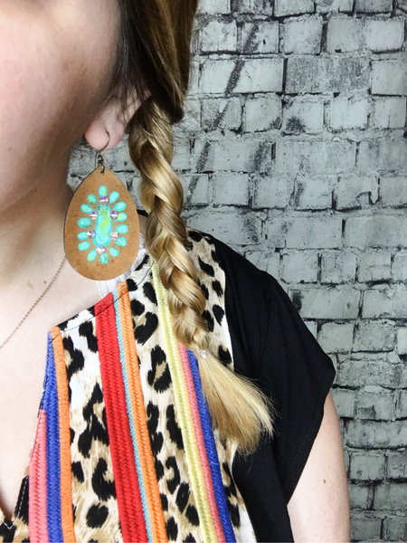 Brown and turquoise Gypsy Earrings; teardrop shape. Available at Pixie boutique in Boerne. Shop women's accessories and jewelry online or in store!