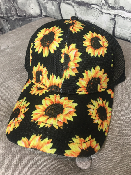 sunflower print country cruisin' cap hat baseball cap | shop women's clothing clothes apparel online or in store at boerne pixie boutique | a favorite of locals and san antonio visitors too