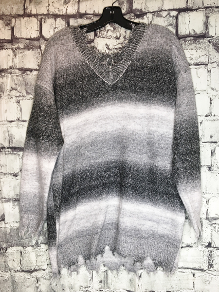 gray brown white distressed ombre sweater shirt top blouse | fall and winter fashion | shop women's clothing clothes apparel accessories jewelry and gifts online or in store at boerne pixie boutique | a favorite of locals and san antonio visitors too | top best boerne boutiques