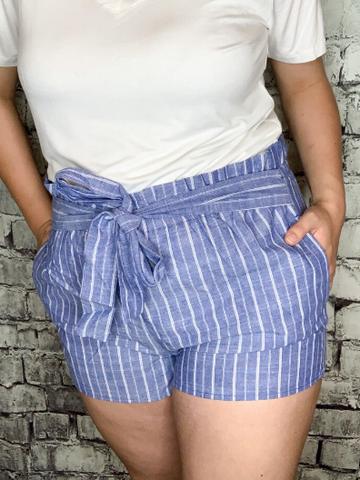 blue and white striped paper bag casual shorts with tie waist | shop women's clothing clothes apparel online or in store at boerne pixie boutique | a favorite of locals and san antonio visitors too