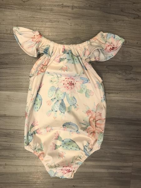 ruffle bubble romper onesie baby outfit floral boerne pixie boutique shop online or in store