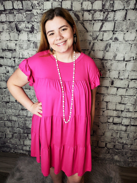 peasant dress ruffle pink women's clothing apparel clothes pixie boerne boutique shop online or in store