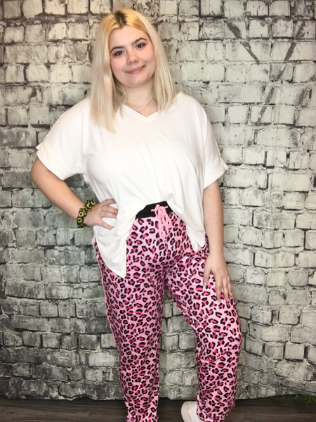 pink leopard print joggers pants bottoms loungewear lounge wear | shop women's clothing clothes apparel accessories jewelry and gifts online or in store at boerne pixie boutique | a favorite of locals and san antonio visitors too | top best boerne boutiques