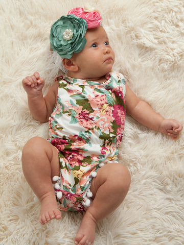 floral pom pom romper bodysuit onesie baby outfit toddler boerne pixie boutique shop online or in store