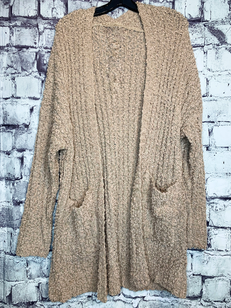 plus size tan taupe brown ribbed popcorn cardigan sweater shirt blouse | fall and winter fashion | shop women's clothing clothes apparel accessories jewelry and gifts online or in store at boerne pixie boutique | a favorite of locals and san antonio visitors too