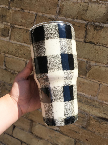 sparkle drink tumblers cups travel cups white and black buffalo plaid buffalo check glitter | shop women's clothing clothes apparel accessories and gifts online or in store at boerne pixie boutique | a favorite of locals and san antonio visitors too