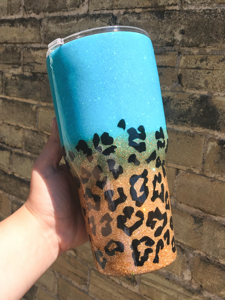 sparkle drink tumblers cups travel cups leopard print turquoise blue glitter | shop women's clothing clothes apparel accessories and gifts online or in store at boerne pixie boutique | a favorite of locals and san antonio visitors too