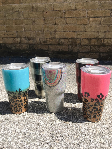 sparkle drink tumblers cups travel cups leopard print silver glitter rainbow buffalo plaid | shop women's clothing clothes apparel accessories and gifts online or in store at boerne pixie boutique | a favorite of locals and san antonio visitors too